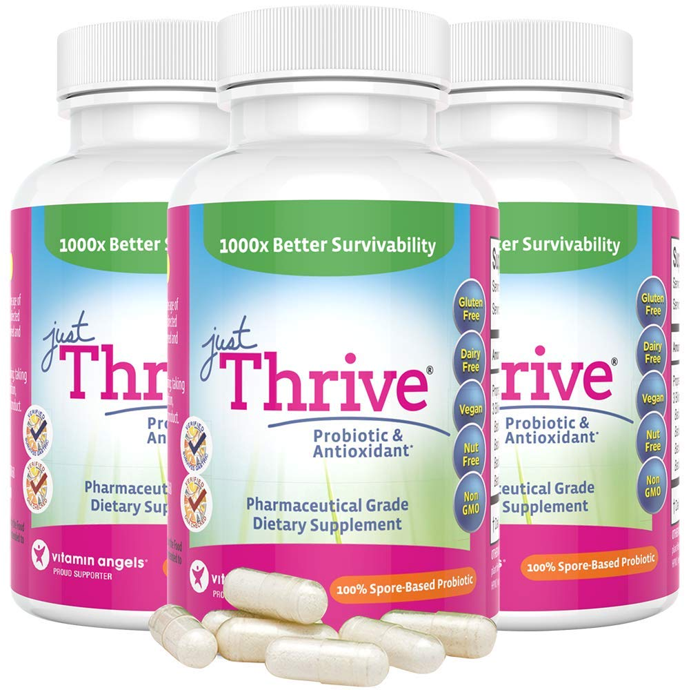 Just Thrive: Probiotic & Antioxidant Supplement - 3 Pack - 100% Spore-Based Probiotic - 1000x Better Survivability Than Leading Probiotics - Support Immune & Digestive Health - Vegan & Gluten Free