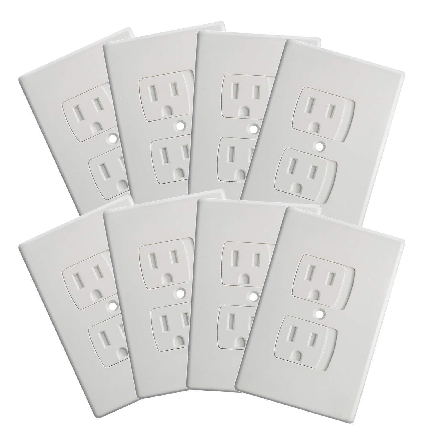 (8-Pack) Upgraded Self Closing Electrical Outlet Covers | Child Proof Safety Universal Wall Socket Plate | Automatic Sliding Cap Cover Standard Wall Outlet Covers