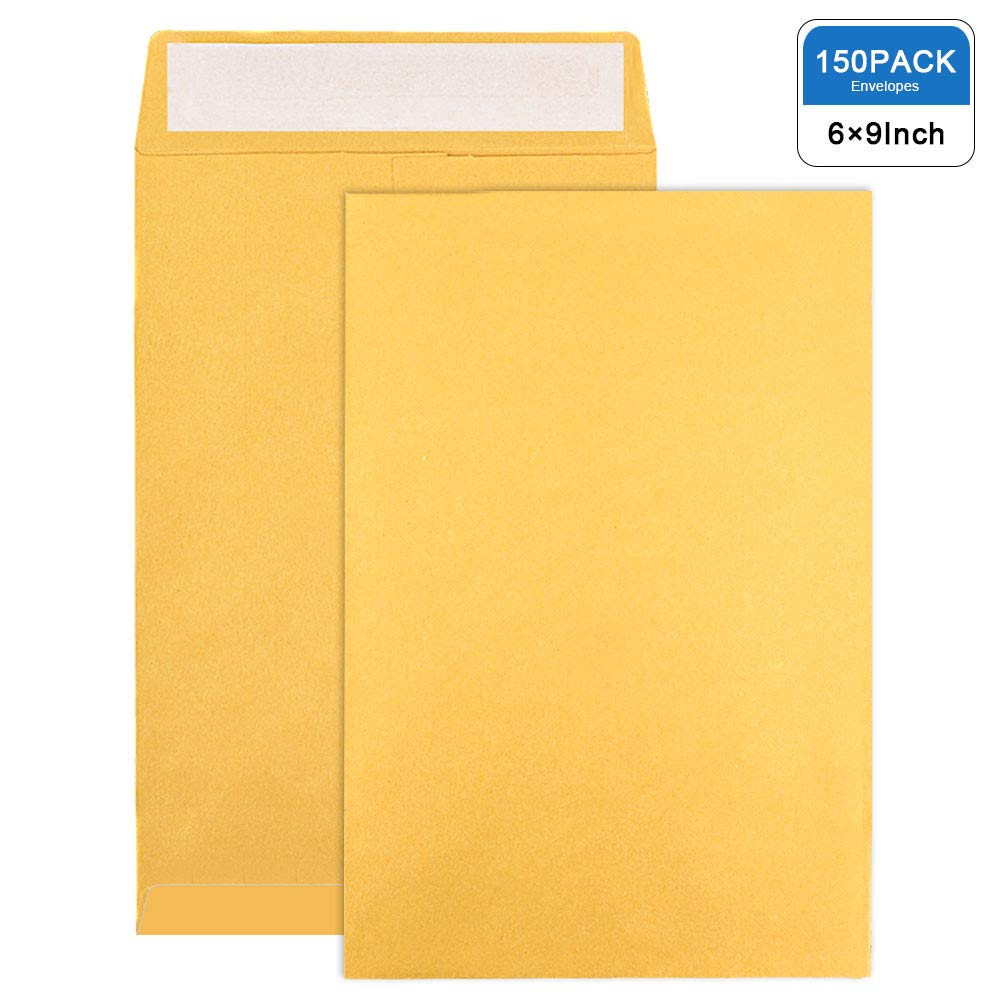 JPSOR Self Sealing Catalog Envelopes, 150pcs 6×9 Brown Kraft Mailing for Office Business Home Secure Mailing