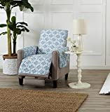Home Fashion Designs Adalyn Collection Deluxe Reversible Quilted Furniture Protector. Beautiful Print on One Side/Solid Color on The Other for Two Fresh Looks Brand. (Recliner, Marine Blue)