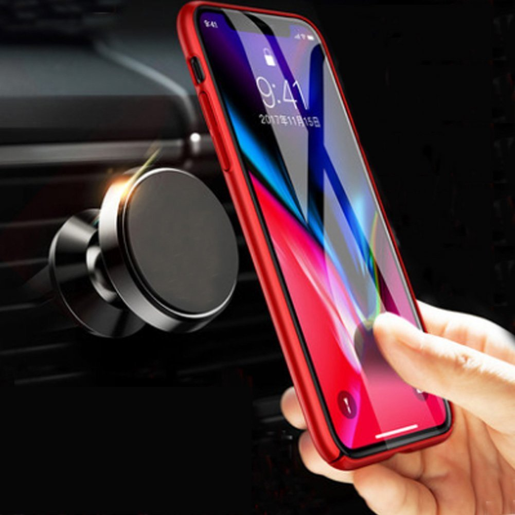 Magnetic Car Mount Air Vent, MANORDS Universal Cell Phone Holder 360°Rotation GPS Mount Compatible iPhone Xs Max Xs X 8 Plus 7 6s SE Samsung Galaxy S9 S8 Edge S7 S6 Note 9 and More (Black) by Manords