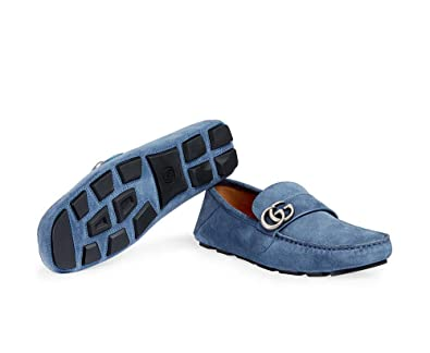 91c024b04 Amazon.com: Gucci Men's Noel Suede Loafer, Blue (Thunder) (8 US ...