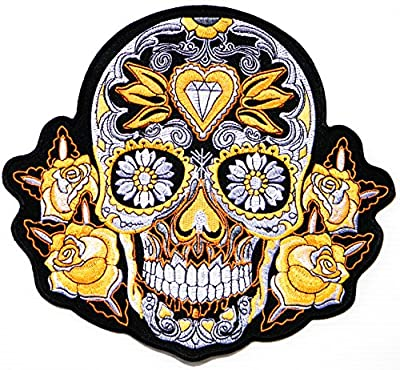 "9.75"" XXL Diamond Rose Sugar Skull Ghost Love Never Die Lady Rider Biker Punk Rock Heavy Metal Retro Tatoo Logo Back Motorcycles Jacket T-shirt Patch Sew Iron on Embroidered Sign Badge Costume"