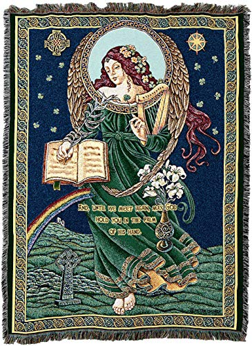 (Pure Country Weavers - Irish Celtic Blessings Woven Tapestry Throw Blanket with Fringe Cotton USA 72x54)