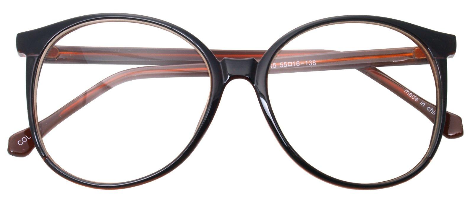 dcf6da5fcf7 Galleon - Oversized Big Round Horn Rimmed Eye Glasses Clear Lens Oval Frame  Non Prescription (BROWN 6045)