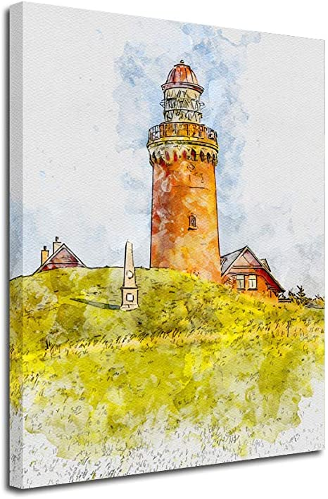 Amazon Com Lighthouse Canvas Wall Art Inner Framed Oil Paintings Printed On Canvas Modern Artwork For Home Decorations And Easy To Hang For Living Room Bedroom Grassland Lighthouse Oil Painting Wall Art Posters Prints