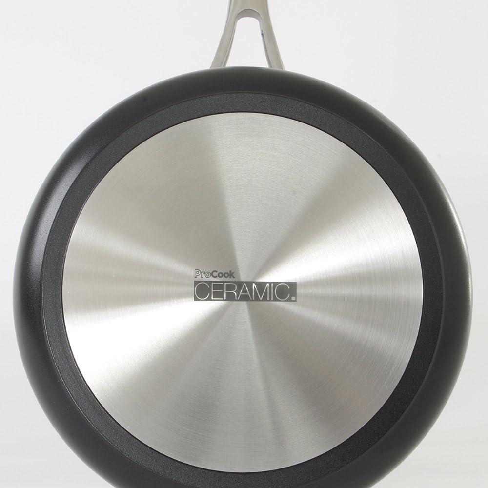 Grande Casserole Induction Manche INOX Isolant ProCook Professional Ceramic 20cm // 3,3L- Rev/êtement antiadh/ésif C/éramique /& Titane Avec Couvercle Verre Tremp/é