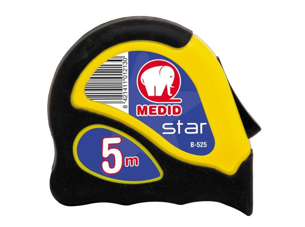 Medid MD/B525 Flexó metro STAR con estuche bimaterial, con freno y clip, 5 m x 25 mm B-525