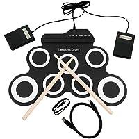 Equipo de batería electrónica rueda para arriba un plegable Práctica Musical entretenimiento con 2 pedales y 2 baquetas de batería electrónica portátil para niños y principiantes del tambor