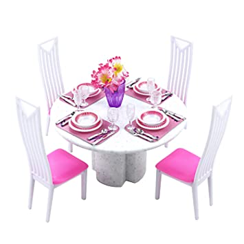 LANUCN 1 6 Doll Accessories Dining Table And Chairs Set Retro Round Dinner Dollhouse