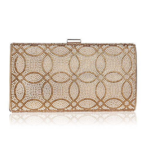 Gold Bag Dress Purse Bag Clutch Handbag Ladies JESSIEKERVIN Shoulder Crossbody Evening Banquet xRwP44I