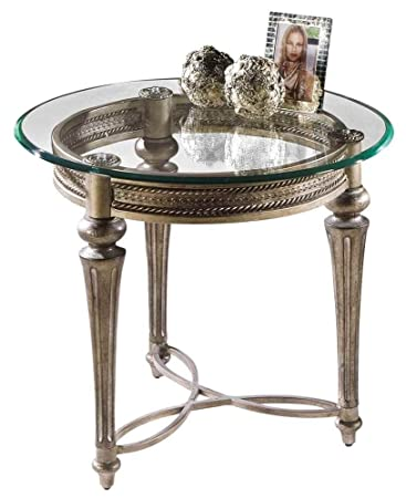 Magnussen Round Glass Top End Table – Galloway