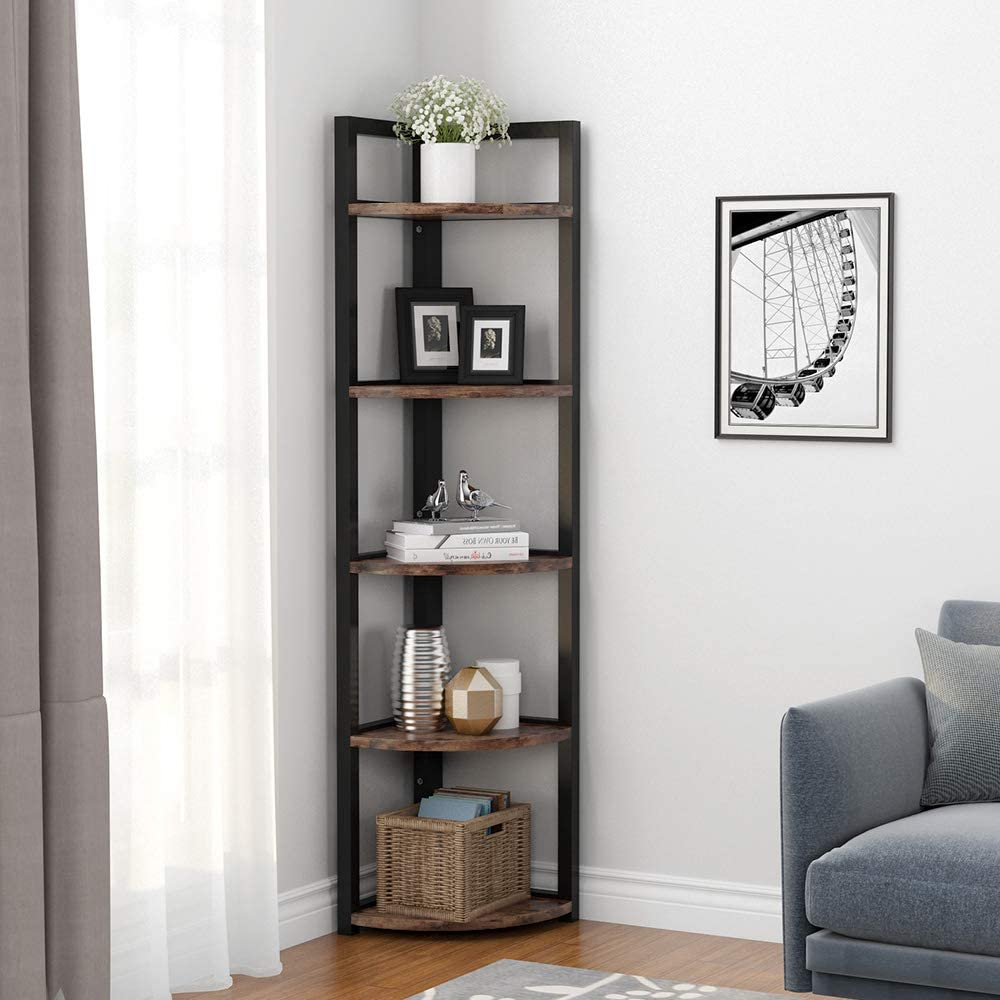 Tribesigns 5 Tier Corner Shelf Rustic Corner Bookcase Storage Rack Plant Stand Small Bookshelf for Living Room Small Space Dark Brown Kitchen Home Office