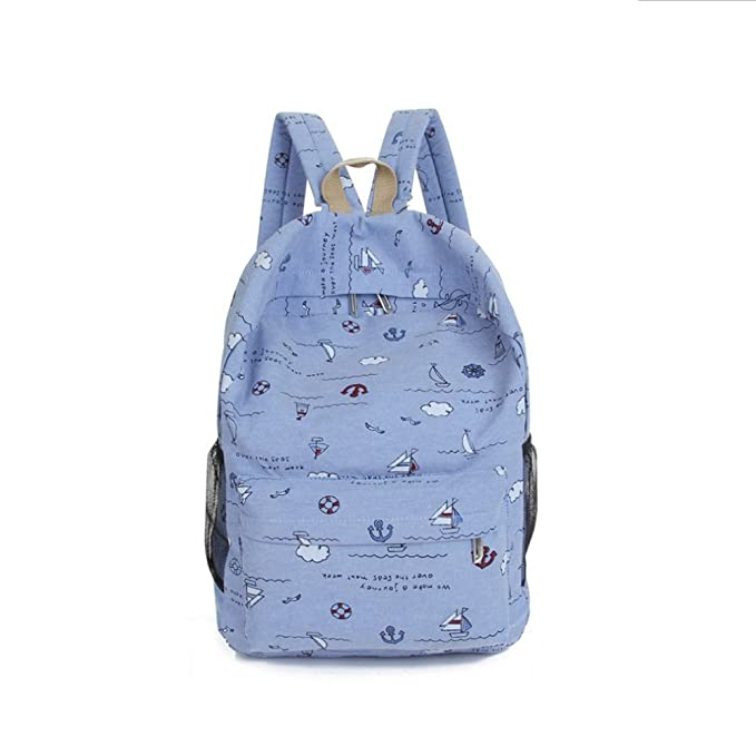 Women Rucksack Backpack Purse Cute Canvas Large Teens Girls,Mochilas de Mujer(Light Blue