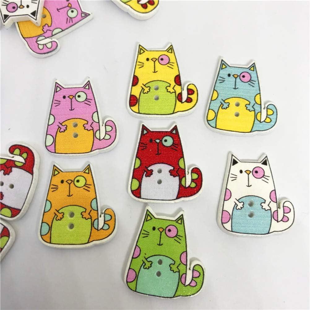 Healifty Bottoni in Legno forma gatti colori assortiti 50 pezzi