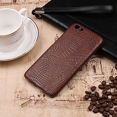 YHUISEN Vivo Y69 caso, patrón de piel de cocodrilo clásico de lujo [ultra delgado] cuero de PU antirayaduras de PC cubierta protectora de la caja dura para Vivo Y69 ( Color : White ) Brown