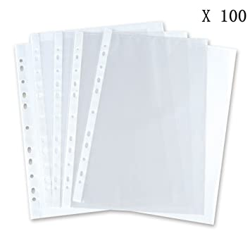 Cmxsevenday No5710 11 Holes PP Loose Leaf Sheet Protectors Top Loading Waterproof