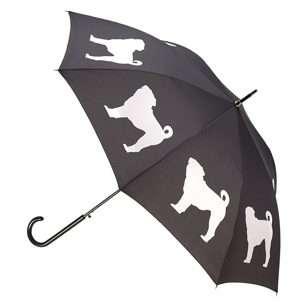 Pug Dog Premium Rain Umbrella (Black/White) By San Francisco Umbrella