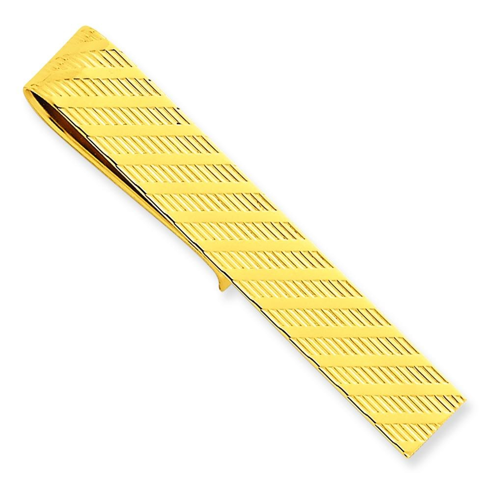 14K Yellow Gold Tie Bar Mens Jewelry Polished New  C