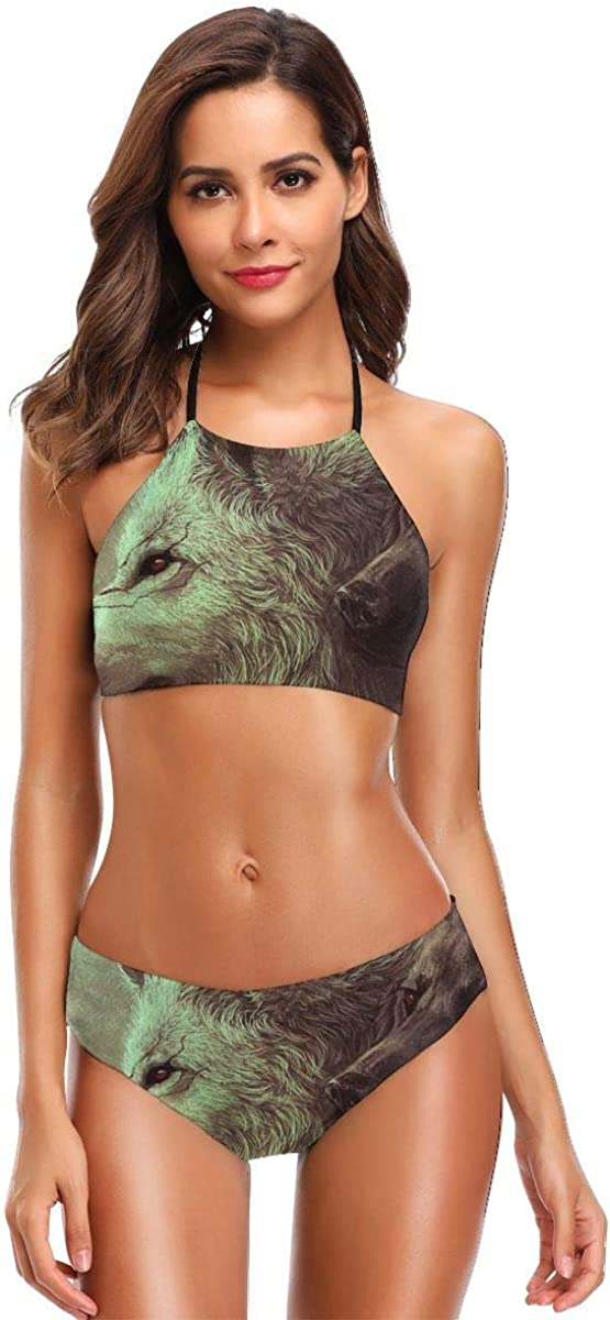 Wolves Black and White Womens Halter Bikini Set High Cut Two Piece Swimsuits Thong Bathing Suits
