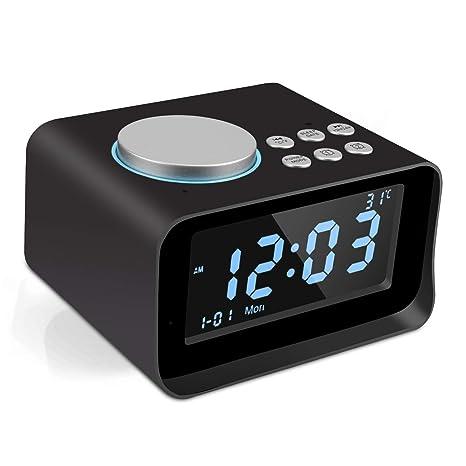 Yabtf Digital Despertador Bluetooth, Radio Despertador con ...