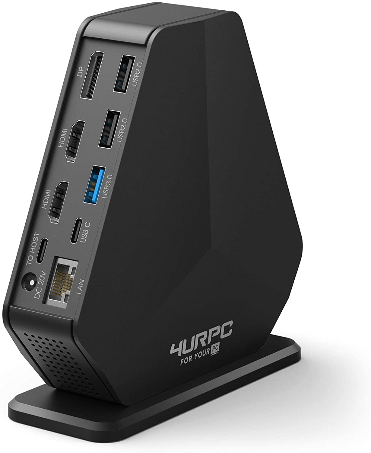 4URPC Triple 4K Monitor Docking Station for USB-C Windows MacBook Pro, Triple/Dual 4K Video Outputs with Dual HDMI & DisplayPort, 5 x USB-A, 60W Power Delivery, Ethernet, Audio & Mic for macOS Grey