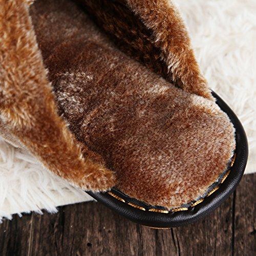 CWAIXXZZ pantoufles en peluche Chaussons accueil les hommes et les femmes chaudes de parquet et un couple en ligne Chaussons en cuir très épais 29 yards (43-44), brown