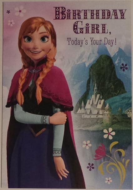 Amazoncom Greeting Card Disney Frozen Birthday Girl Todays