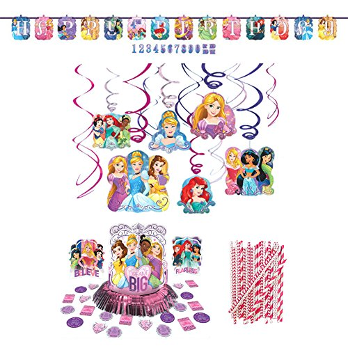 (Princess Dream Big Birthday Party Decorations Supplies Pack | Straws, Table Decorating Kit, Hanging Swirls, and Banner | Celebrate Your Princess With Belle, Ariel, Rapunzel, And)