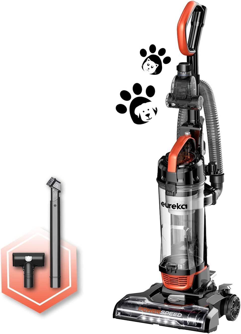 Eureka Power Speed NEU188A PowerSpeed Turbo Spotlight Lightweight Upright Vacuum Cleaner for Carpet and Hard Floor, Pet, Tangerine Orange