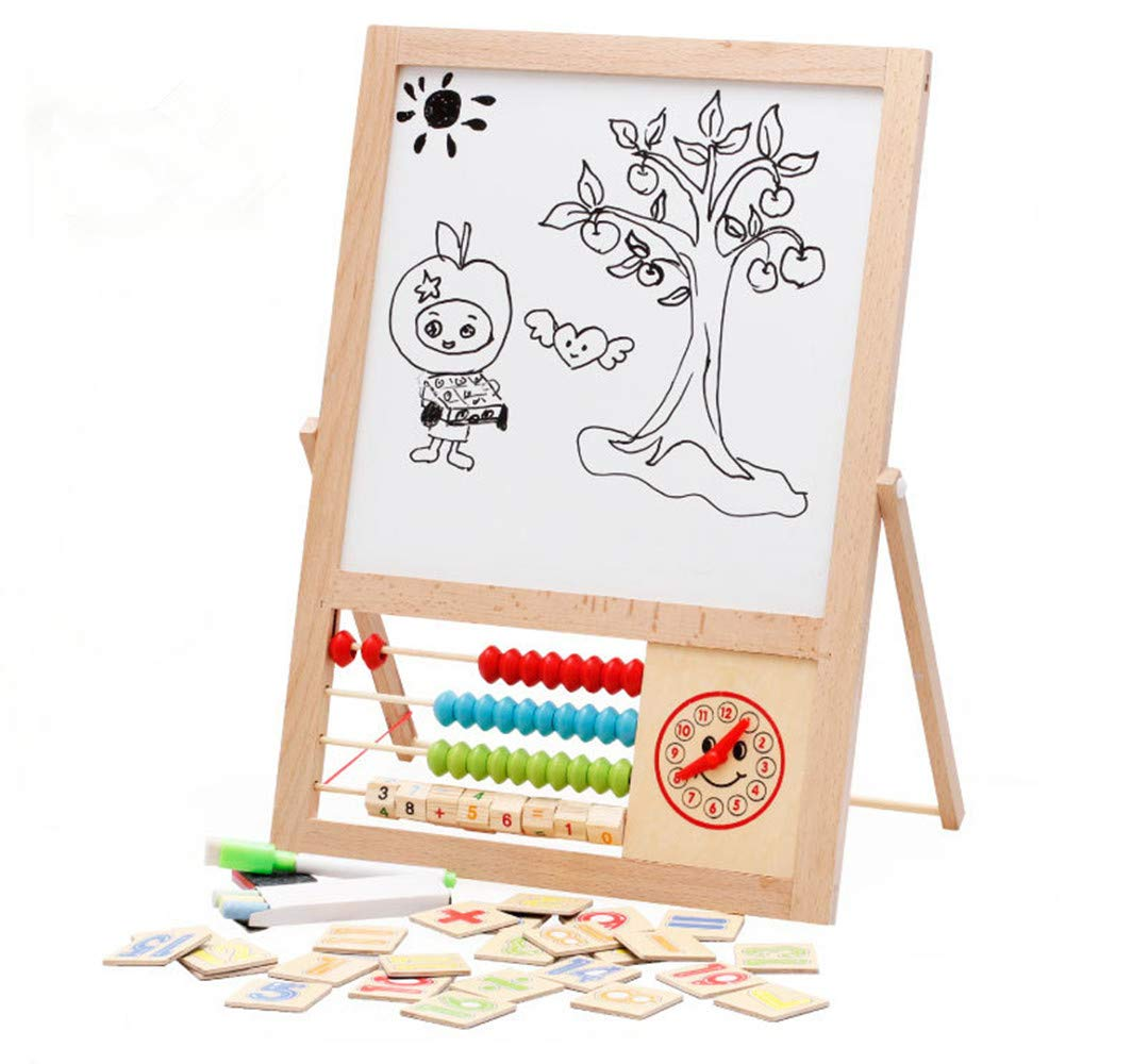 4 in1 Wooden Kids Easel Educational Double-Sided Adjustable Chalk Drawing Blackboard White
