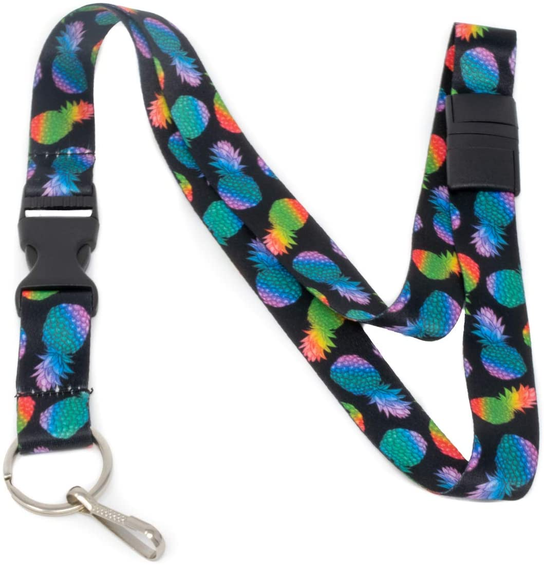 Limeloot Colorful Pineapples Premium Lanyard with Breakaway, Release Buckle, and Flat Ring.