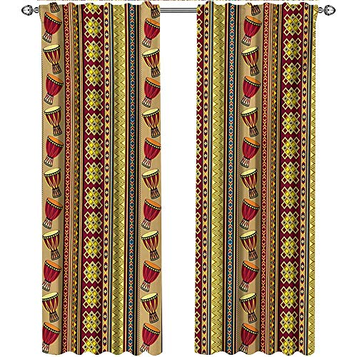 Ethnic, Curtains Thermal Insulated, African Tribal Pattern with Abstract Folk Figures and Drum Icons Traditional Design, Curtains for Kitchen, W84 x L96 Inch, Multicolor
