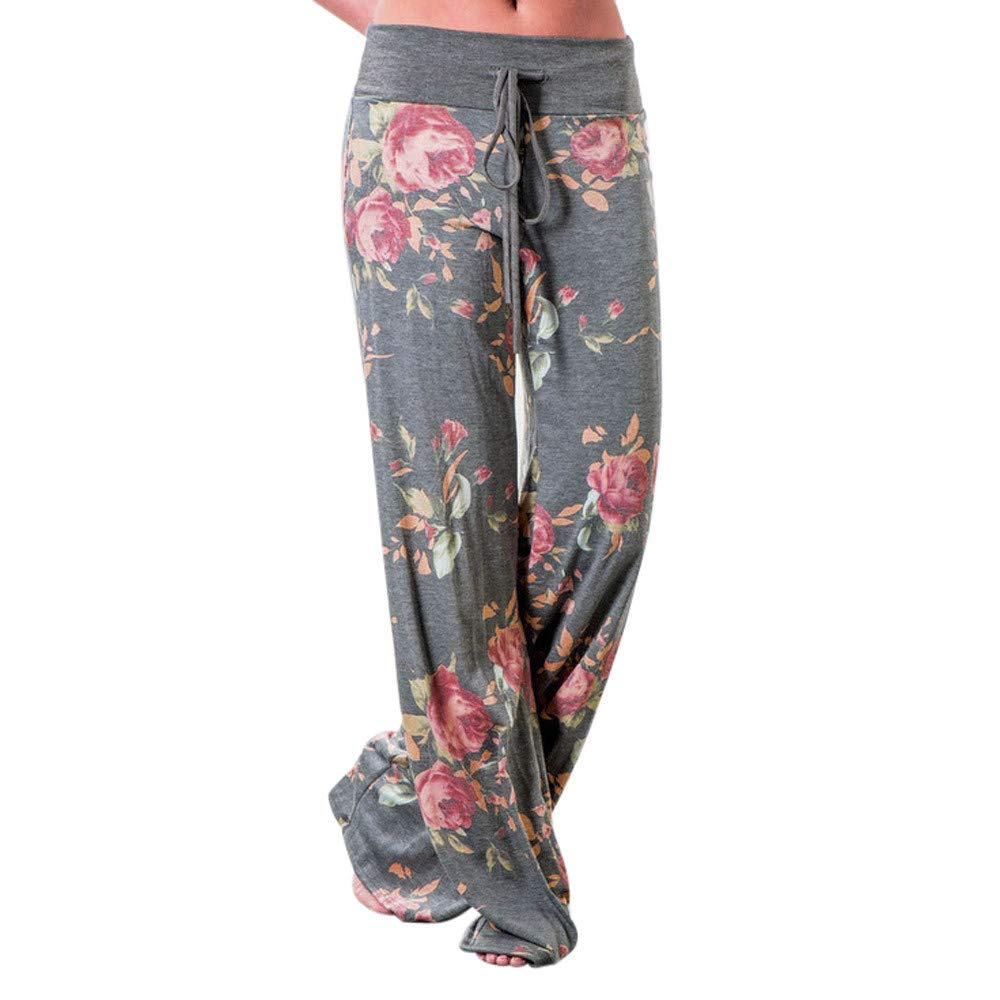 JOFOW Womens Wide Leg Pants Boho Flowers Print Drawstring Long Loose Casual Pant