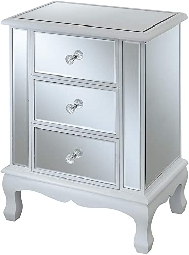 Convenience Concepts Gold Coast Vineyard 3 Drawer Mirrored End Table, White Mirror