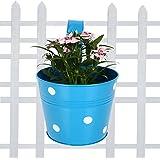 TrustBasket Single Pot Railing Planter - Blue