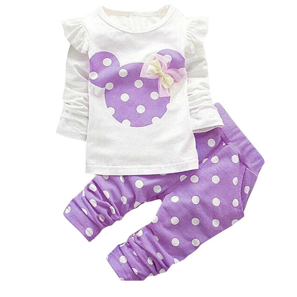 Baby Girl Clothes Infant Outfits Set 2 Pieces Long Sleeved Tops + Pants (12-18 Months, Purple)
