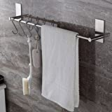 Bosszi Self Adhesive Bathroom Towel Bar Brushed SUS 304 Stainless Steel Bath Wall Shelf Rack Hanging Towel Stick On Sticky Hanger Contemporary Style (27.5 Inch)
