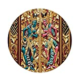 iPrint Polyester Round Tablecloth,Balinese Decor,Temple Door in Indonesia Traditional Carved Golden Leaves Flowers Patterns,Gold Brown,Dining Room Kitchen Picnic Table Cloth Cover Outdoor Indoor