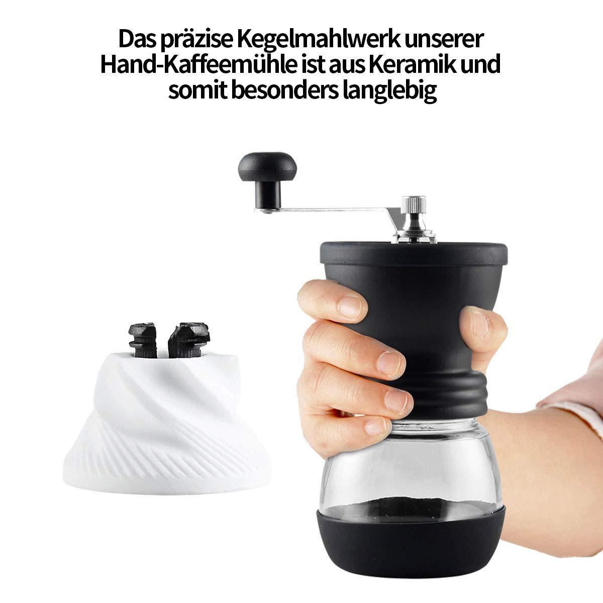 PANENDIANO Hand Kaffeem/ühle Manuelle mit KeramikMahlwerk Stufenlose Mahlgradeinstellung Premium Espresso-M/ühle Geschenkverpackung Verf/ügbar
