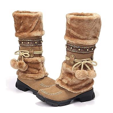 cf5b9e92de8eb Gracosy Bottes Hautes Fourrure Femmes, Bottes de Neige Hiver Fourrées  Chaude à Talon Plats Chaussures
