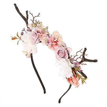 Amazon.com  Claire s Girl s Deer Antler Flower Crown Headband ... c29338a4c1e