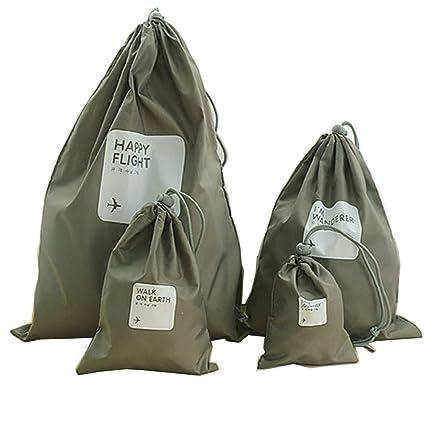 Bolsos del almacenaje viajar Abar/ía 6 piezas chicas organizador para maletas 3 zippa bag + 3 bolsa de cuerda Zapatos de dibujos animados maleta de cosm/éticos bolsa de lavander/ía de tocador