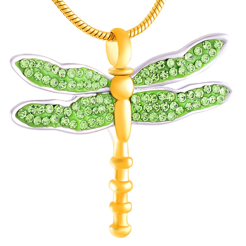constantlife Animal Keepsake Dragonfly Memorial Ashes Necklace Lovely Cremation Jewelry with Filling Kits &Box (Green)