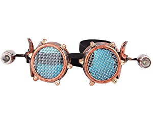 Barbed Wire Steampunk Goggles Vintage Retro Cosplay Welding Punk Gothic Glasses Blue Lens (Color: Red Copper-blue Lens-24, Tamaño: One Size fit Most)