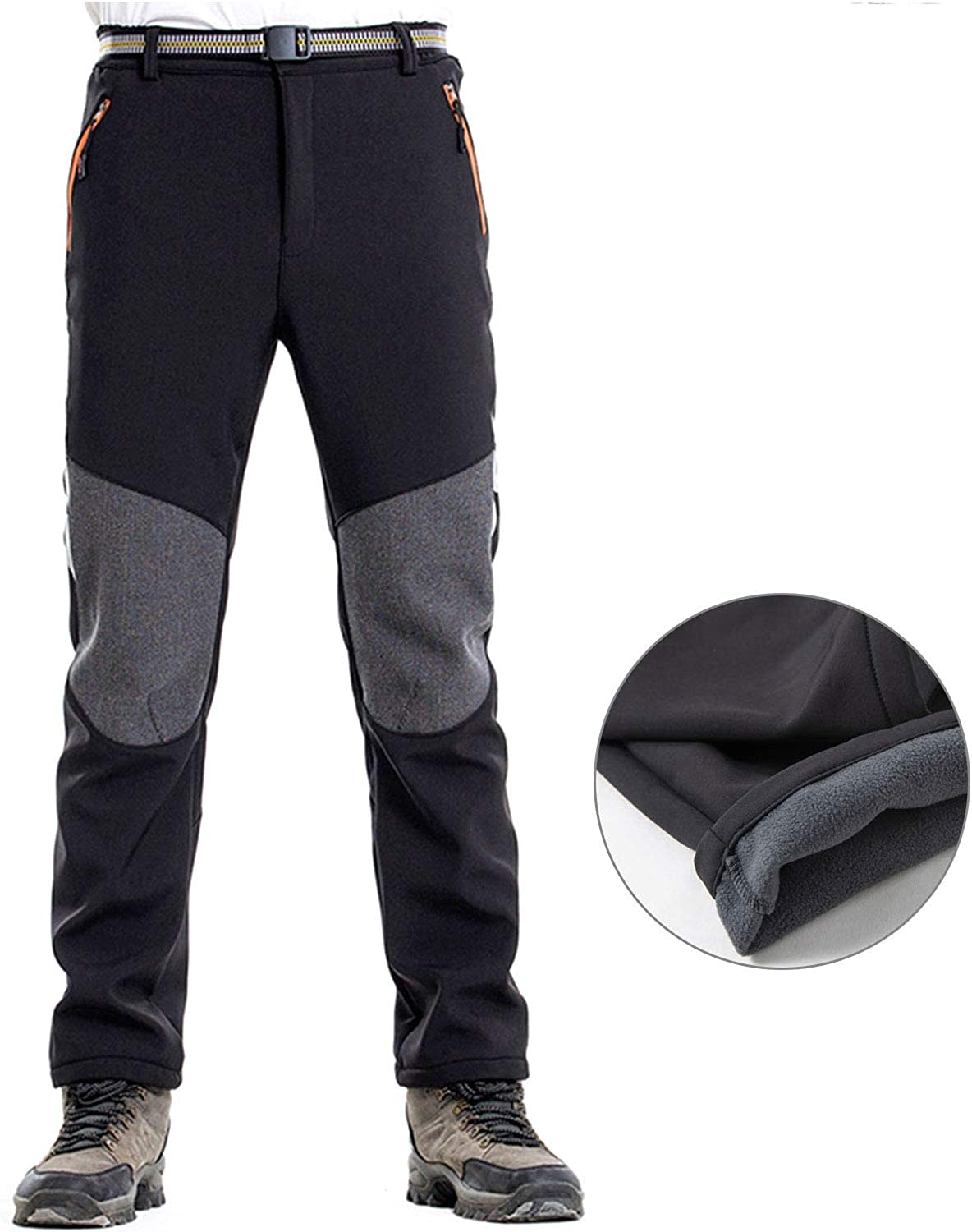 WOG2008 Men Windproof Softshell Hiking Pants Quick Dry Outdoor Camping Mountaineering Trousers with Belt