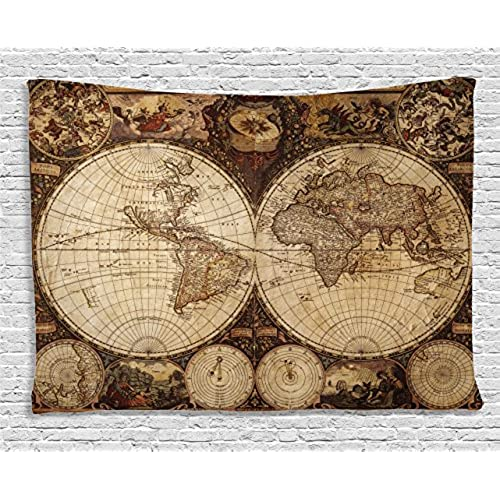 World map decor bedroom amazon ambesonne wanderlust decor tapestry by old world map drawn in 1720s nostalgic style art historical atlas vintage design wall hanging for bedroom living gumiabroncs Choice Image
