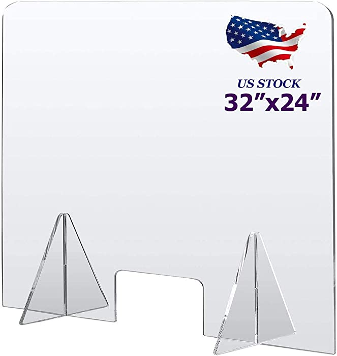 "Sneeze Guard for Counter 32"" x 24"", Protective Plexiglass Barrier Divider, Portable Freestanding Clear Acrylic Plastic Shield for Desk, Office, Nail Salon and Reception"