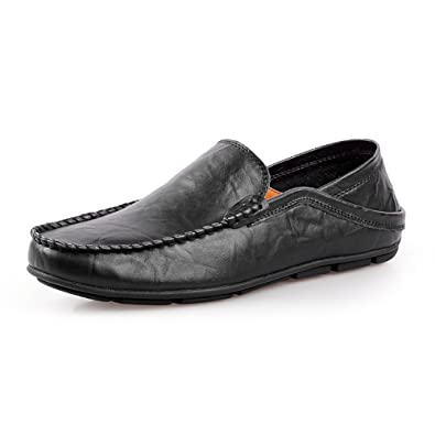 35807d38262 Shenn Men s Slip On Moccasins Driving Car Casual Leather Loafers Shoes  20138(black