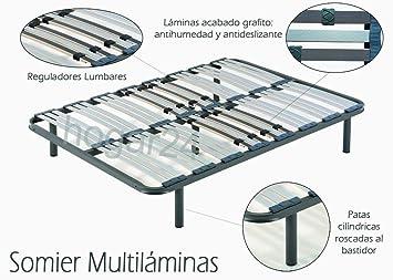 Somier 150x190 Cm.Hogar24 Es Somier Multilaminas Con Reguladores Lumbares 150x190 Cm